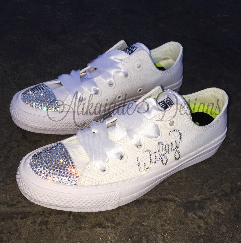 78e568795a2f02 Swarovski Crystal WIFEY Converse - Wedding Converse- Crystal ...