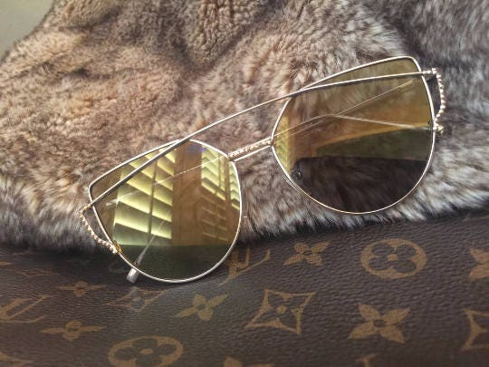 76b63cc086239 Ready to Ship! Gold Mirrored Lenses -Sunglasses Customized with ...