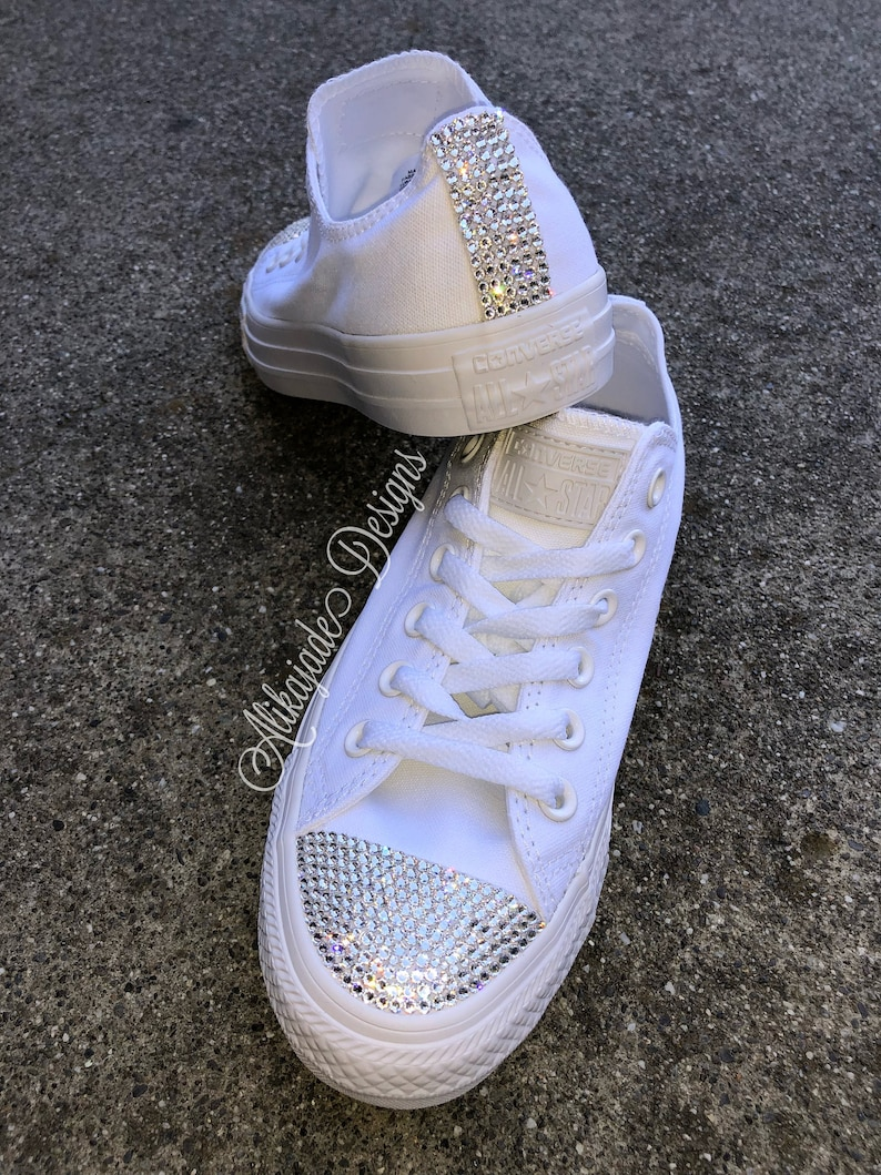 Swarovski Crystal White Converse Wedding Converse Crystal  bee5524cd