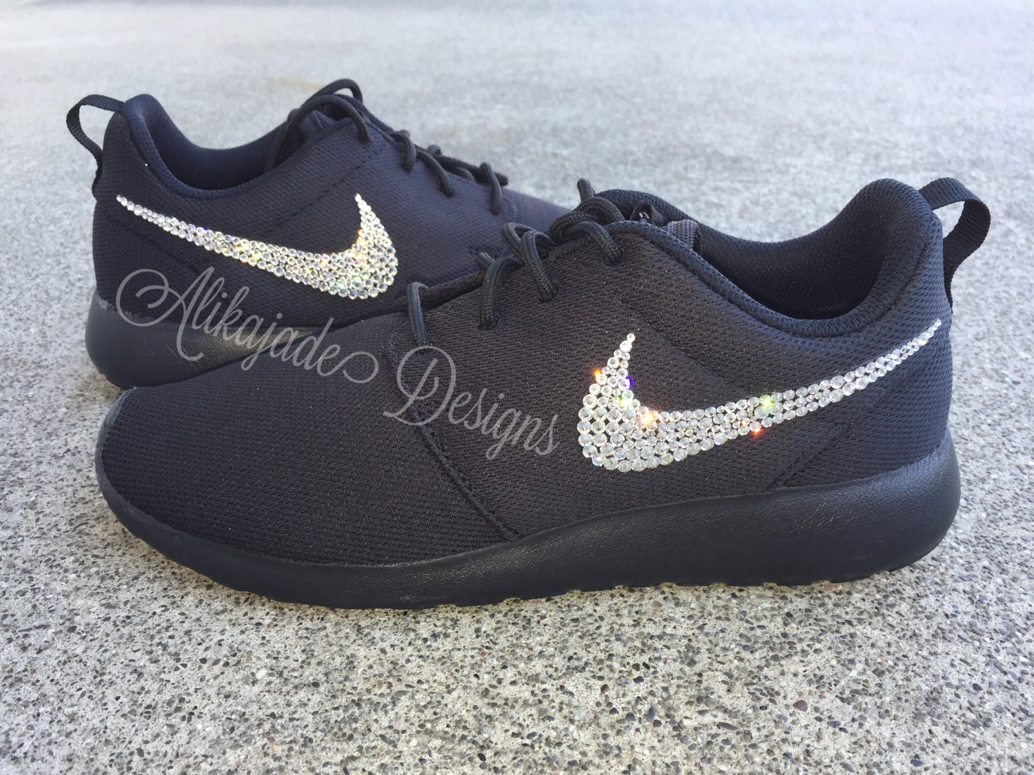 Swarovski Women s Black NIKE Roshe ONE or TWO with Clear Crystals- Wedding  Shoe- Gift for Her. gallery photo gallery photo gallery photo fc441f27df
