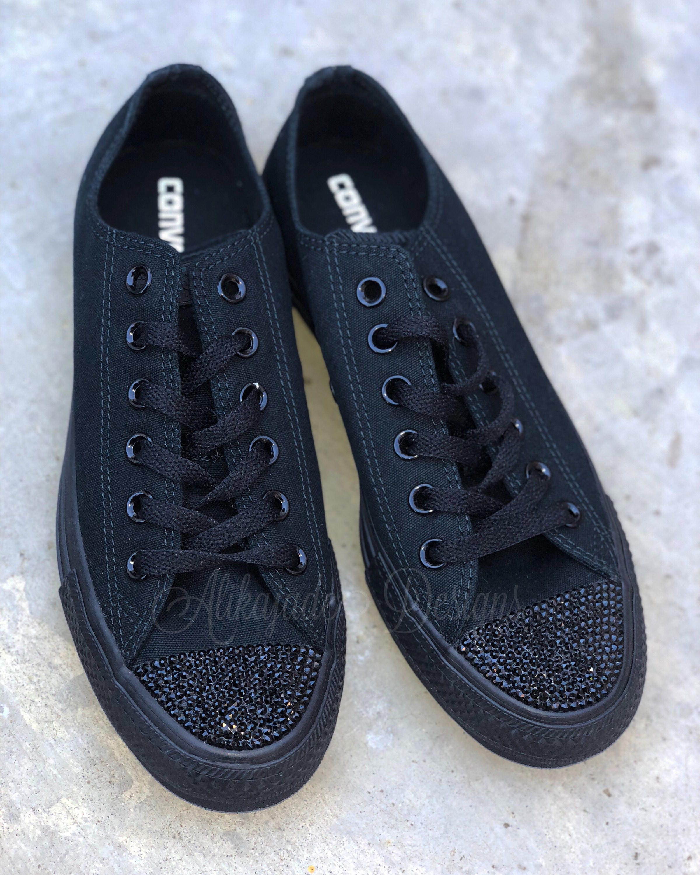 612c82a25e9cdb Swarovski Crystal Black Converse - Crystal Converse - Gift for Her- Bride  Shoe. gallery photo