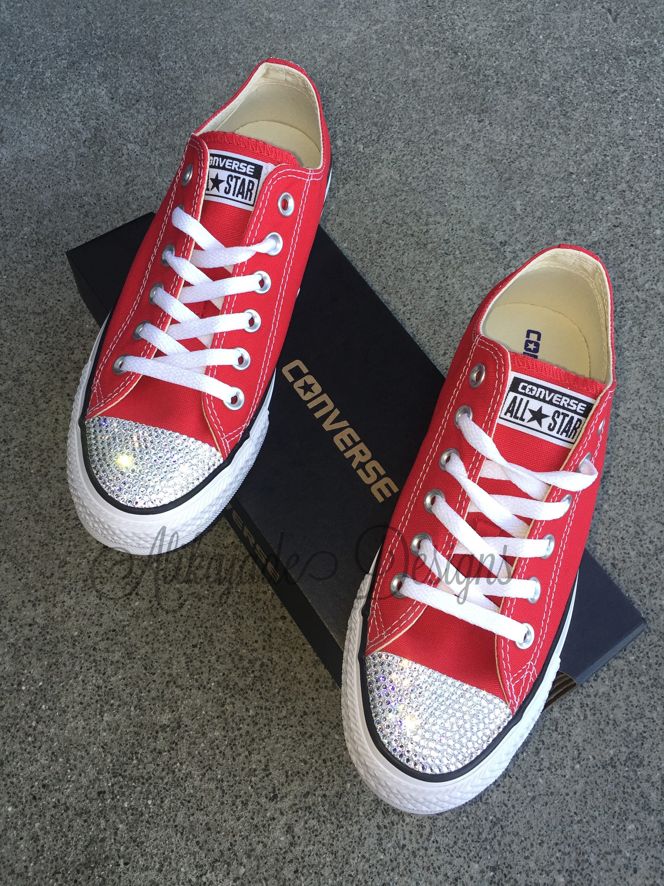 fe99651706ed Swarovski Crystal Red Converse - Crystal Converse - Gift for Her- Bride  Shoe- Valentines Gift