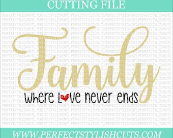 Family Where Love Never Ends Svg - Religious SVG, DXF, PNG, Eps Files for Cameo or Cricut - Christian Svg, Bible Quotes Svg, Jesus Svg