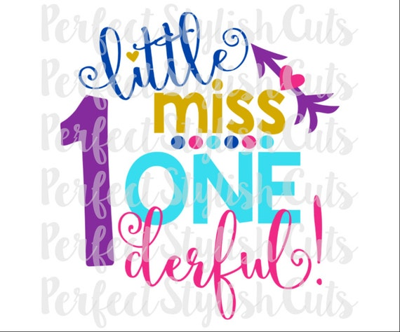 Little Miss One Derful Svg Dxf Eps Png Files For Cutting Etsy