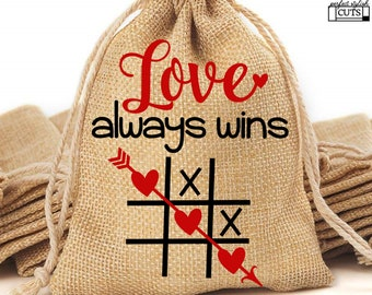 Tic Tac Toe Valentines Day SVG - Love Always Wins Svg, Valentine Svg, Tic Tac Toe Bags, Eps, Dxf, Png files Included