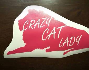 Crazy Cat Lady Lion Vinyl Decal