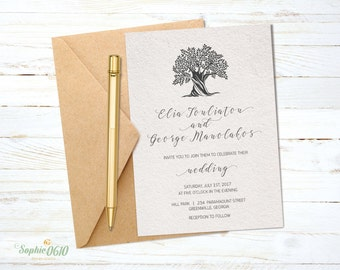 Printable wedding invitation set, simple wedding invitation, calligraphy wedding invite, olive tree digital invitation file, diy wedding