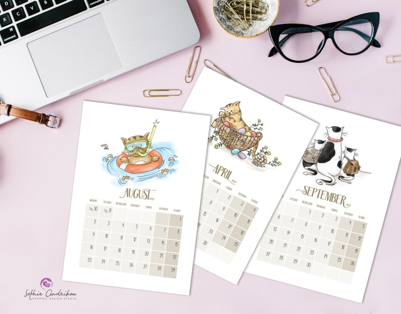 Printable cat calendar 2021 A4 A3 Letter wall calendar   Etsy