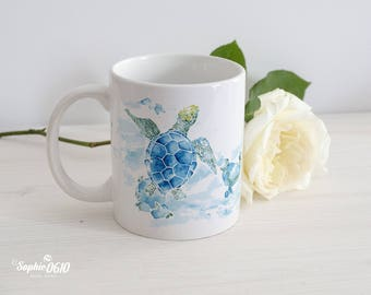 Sea turtle underwater watercolor illustrated mug, nature lovers mug, coffee tea mug, gift mug, birthday mug, 11 oz ceramic mug