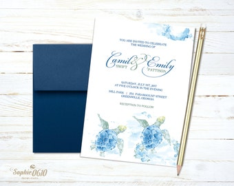 Sea turtle summer wedding invitation, printable watercolor wedding invitation, nature lovers digital wedding set