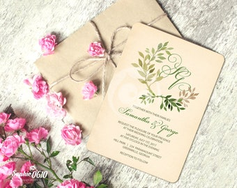 Printable vintage ivory wedding invitation,  digital wedding invitation with green leaves, wedding invite with monogram, Digital files