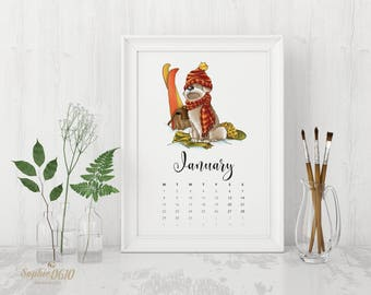 Printable 2018 calendar for dog lovers, A4, A5, year wall calendar, digital desk calendar, month calendar, Instant Download