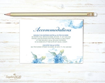 Printable accommodations card with watercolor sea turtle, summer wedding accommodations information, nature lovers digital wedding