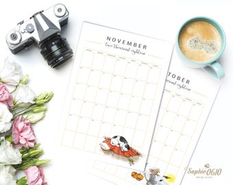 Printable month planner 2018, 2018 calendar planner, cat lovers organizer, digital desk diary, Monthly planner, instant download