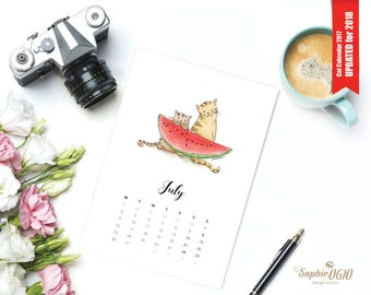 Printable calendar 2018 for cat lovers, A4, A5, year wall calendar, digital desk calendar, one month Illustrated calendar, Instant Download
