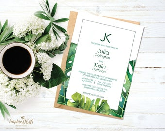 Printable green leaves wedding invitation set, Digital greenery invite, floral organic leaves wedding invitation, DIY wedding invites