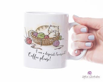 Mug for cat lovers, illustrated mug, house cat mug, coffee please, pet illustrated cup, funny mug, gift birthday mug, animal mug, tea mug