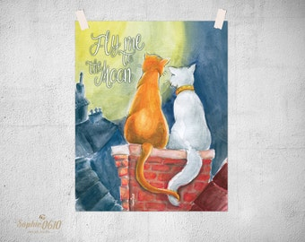 Printable watercolor Poster Cats in love, Love Poster, Valentine Poster, Instant download