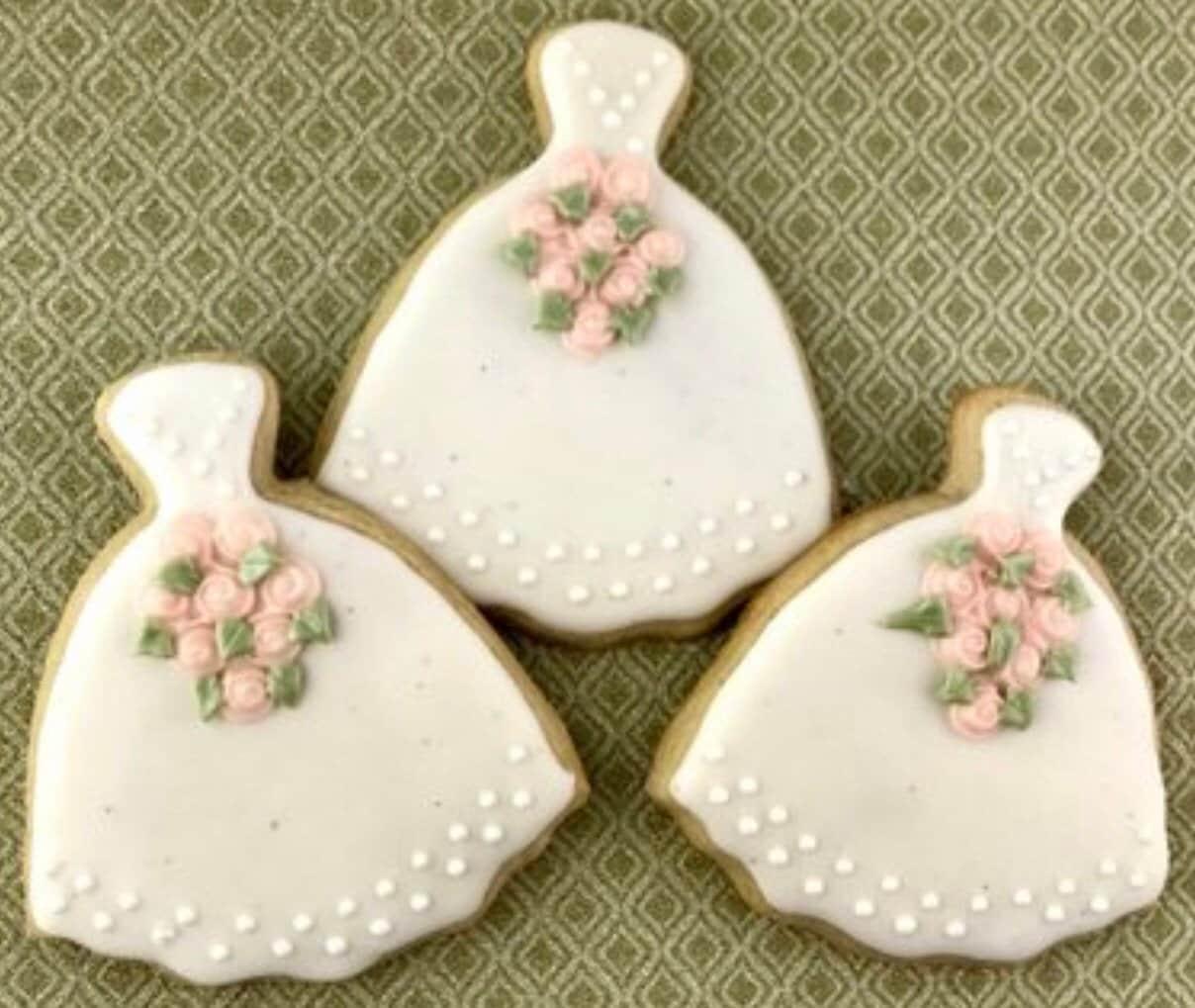 My Broken Eggshells My 18th Birthday Dinner: Wedding Dress Cookies, Bridal Shower Cookies, Dessert
