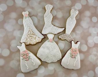 Wedding Dress Cookies, Favors, Dessert Table, Bridal Shower, Rehearsal Dinner Favors