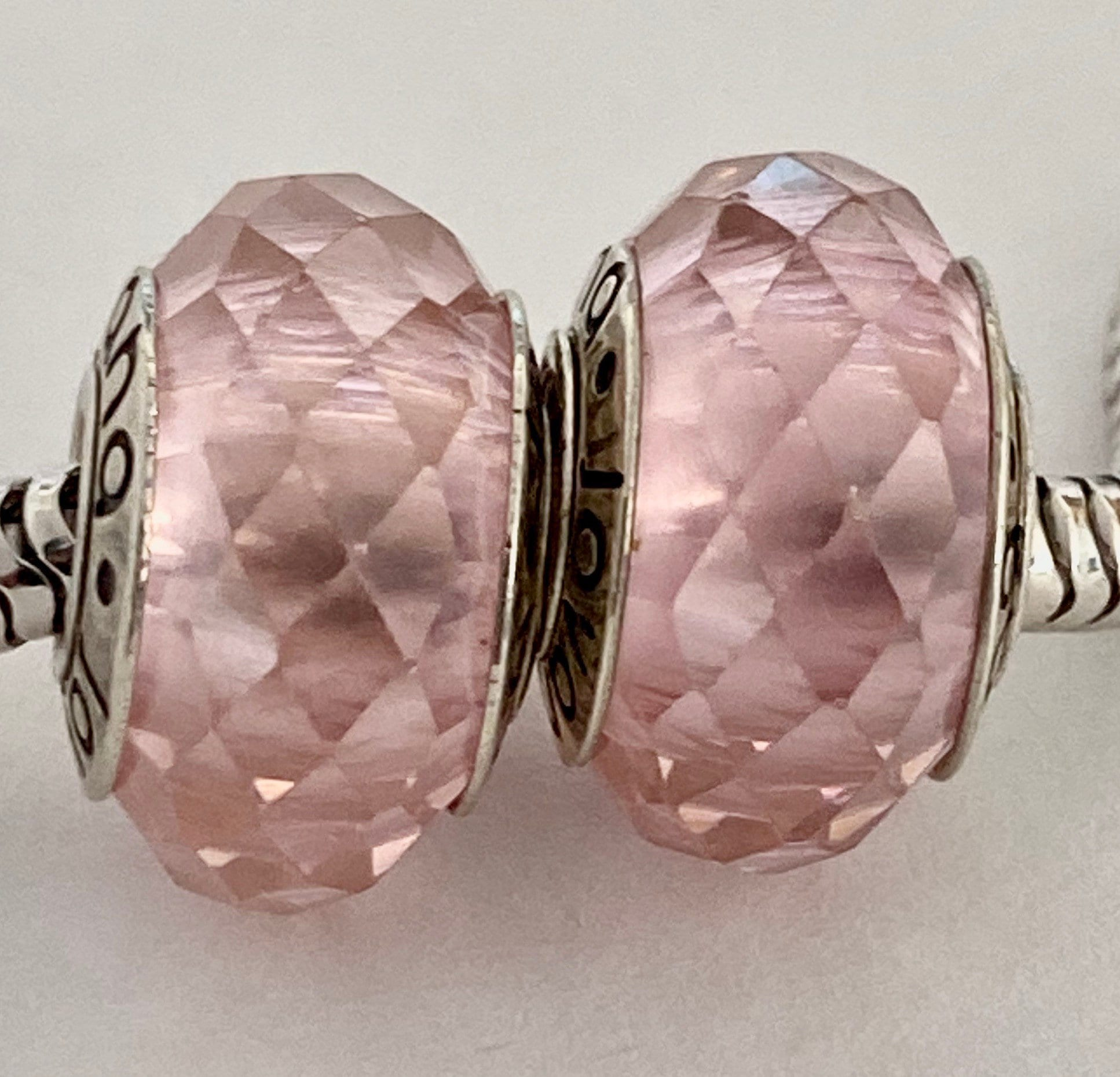 2 Charms Pink Faceted Charms 825 Cores Fit Pandora Bracelet Etsy