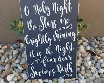 O Holy Night Sign|Christmas Decor|O Holy Night The Stars|Savior's Birth Sign|Christmas Sign|O Holy Night Quote|Holy Night Lyrics|Christmas