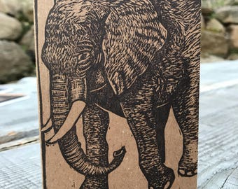 Elephant Block-Printed Journal - Small Linocut Kraft Paper Journal - Blank or Lined