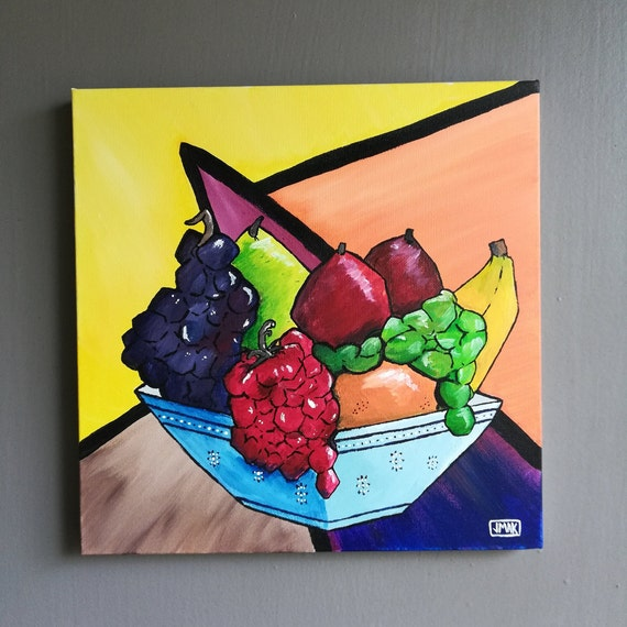 Original Fruit Bowl Acrylic Painting Acrylic Painting Canvas Wall Art Impressionism Cubism Wall Art Cubed Fruit Unique Gift