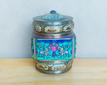 Chinese Enameled Brass Canister - Collectable Asian Folk Art - Small Trinket Box - Unique Eco Friendly Gift - Gift for Her