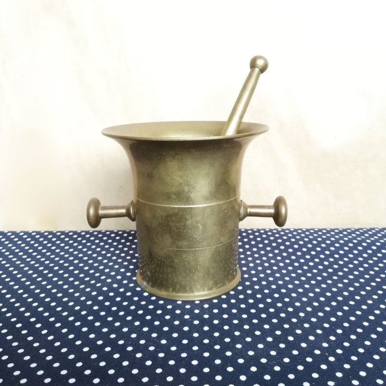 Brass Pestle And Mortar   Antique Pharmacy Tool   Eclectic Kitchen Decor    Collectable Brass Decor   Unique Wiccan Altar Decor   Unique Gift