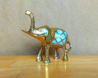 Brass Elephant Statue - Mother of Pearl - Home Decor - Yoga Room Decor - Lucky Elephant Figurine - Bohemian Decoration - Indian Folk Art