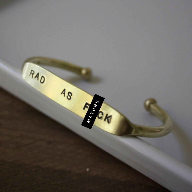 Rad As Fck / Quote Cuff /Curse Jewelry/ Curse Bracelet