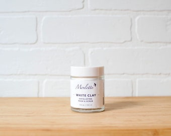 White Clay Exfoliating Mask and Scrub with Rosehip extract and Jojoba beads. An excellent exfoliator. Best seller!