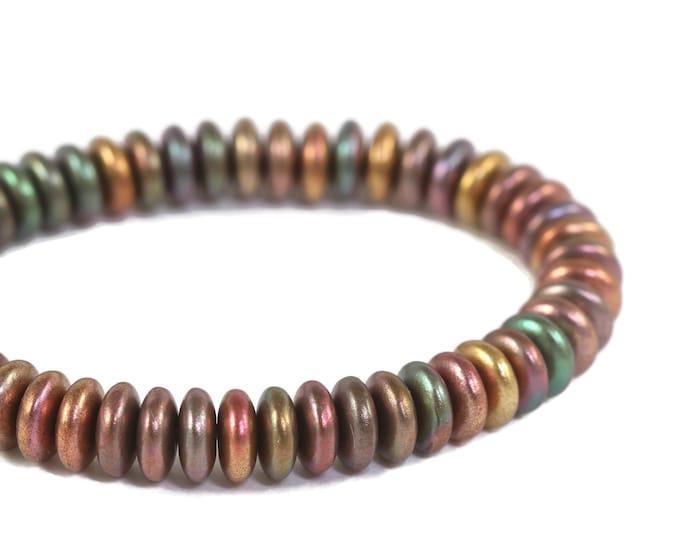 Metallic Rainbow Mix Matte Opaque 50 Beads 6mm Czech Glass Disc Spacer Beads