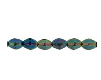 Pinch Beads - Czech Glass Beads - Tri Oval Beads - Pressed Glass Beads - Green Iris - 5mm - 50 Beads