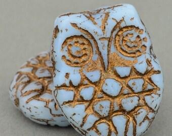 10 Beads Czech Glass Horned Owl Beads Light Sapphire Blue Opaque with Bronze Wash 18x15mm Beads Bird Beads
