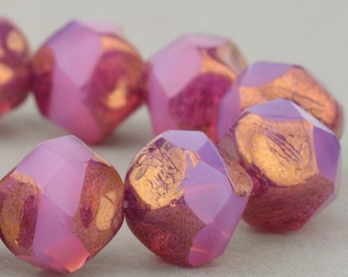 15 Beads Central Cut Beads 9mm Beads Czech Glass Beads Pink Opaline with Bronze Finish