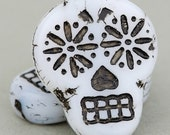 Czech Glass Sugar Skull Beads - Dia De Los Muertos Beads - White Opaque with Black Wash Beads - 20x17mm - 2 Beads