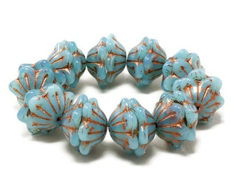 Czech Glass Wide Bellflower Beads - Blue Opaline with Copper Wash - 12x6mm - 10 or 20 Beads