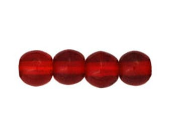 Czech Glass Round Beads - Siam Ruby Beads - 4mm Red Beads - 4mm Round Beads - 100 Beads
