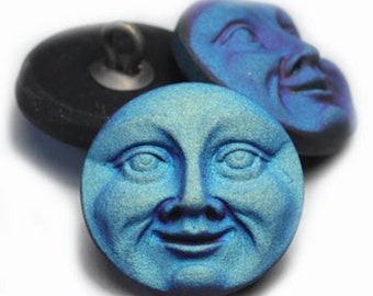 Czech Glass 18mm Round Moon Face Button - Matte AB (Blue, Purple, Black)