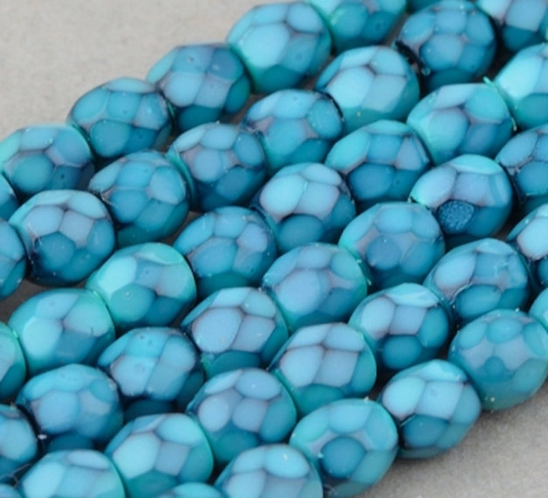 Czech Glass Round Faceted Beads  Fire Polished Beads  image 0