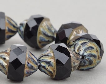 Czech Glass Spiral Central Cut Beads - Turbine Beads - Jet Opaque with Picasso - 12x10mm - 10 beads