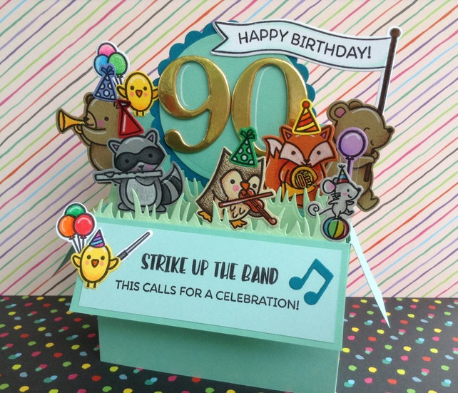 90th Birthday Card Custom Bday Or Anniversary Unique Pop Up In A Box Musical