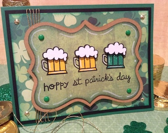 St. Patrick's Day Card, Saint Patrick's Day, Hoppy St. Patrick's Day, Green Beer Day, Humorous Pun, Unique