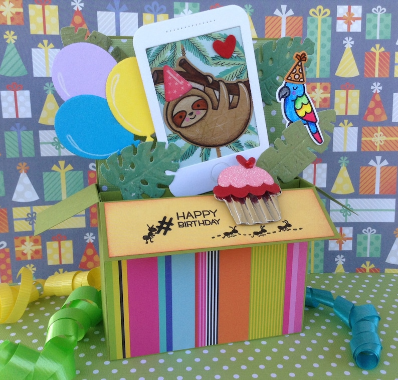 Unique Pop-Up Card-In-A-Box Birthday Fun For All Ages Young Adult Hashtag Cell Phone Sloth Birthday Card Teen Trendy Tween