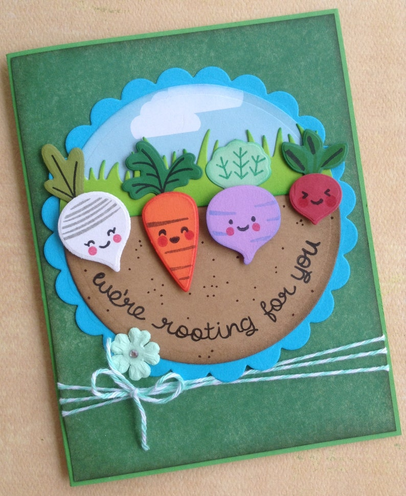 Rooting for You Encouragement Card, Unique Handmade Surgery Card, Get Well  Card, Vegetables, Veggies, Garden Stationary, For Kids and Adults