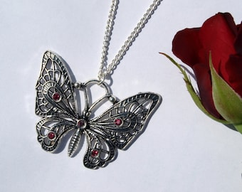 Silver Butterfly Necklace, Gift for Girlfriend, Insects Jewelry
