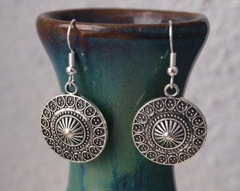 Round Silver Earrings, Ethnic Circle Earrings, Valentine's Day Gift