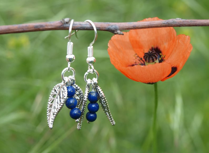 Silver blue earrings Lapis lazuli earrings Cute earrings Teens image 0